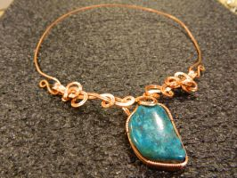 Turquoise in copper freeform by DPBJewelry