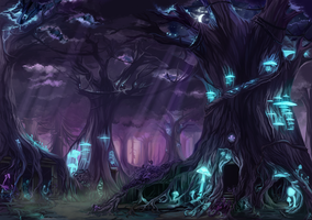 Comm - The Lair of Clan Nocturne by corvidart