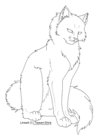 Free Lineart Longhair Cat by Tesseri-Shira