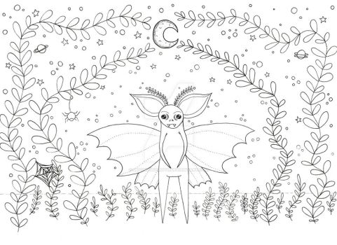 Coloring Page: Lunar Moth-Bat by MoondustMoth