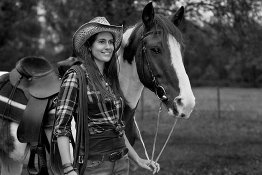 cowgirl and horse by JanRohwedder