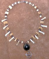 Coyote and onyx necklace by Tabbicatt