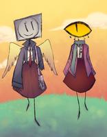 schoolgirls skipping in the fields by Slitherbot