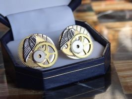 Steampunk cufflinks II by Hiddendemon-666