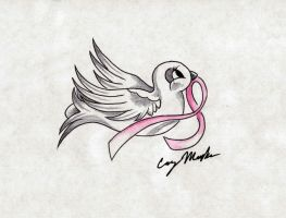 Breast Cancer Dove Tattoo Design by NarcissusTattoos