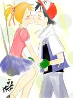LOL, Ash and Misty Kiss_after by justinee