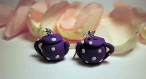 Purple Teapot Earrings by JewelleryByABC