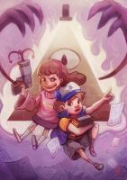 Mabel and Dipper, Gravity Falls! by Drawmonsterdraw