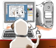 Dog use PowerMac by iballoon
