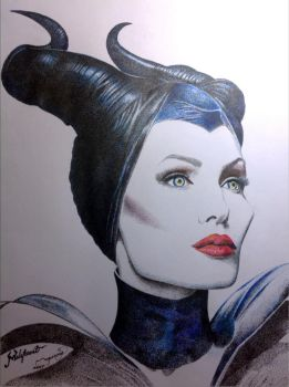 Pointillism / Stippling of Maleficent by crazystipple