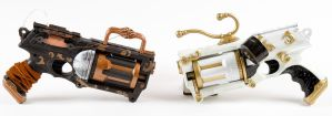 Ebony and Ivory Steampunk guns by 3Dpoke