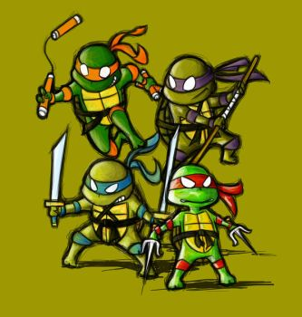 Little ninja turtles by Witchking00