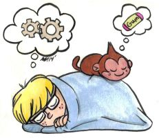 EB-Jeff Sleeps with Bubble Monkey by anniemae04