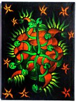 Fluorescent acrylics on black canvas 7 by ArtGenEeRing