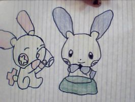 Plusle and Minun by chibivampire1997