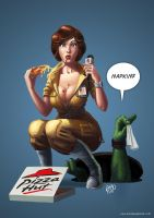 April O'neil Pizza Time by tricketitrick