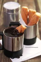 Cinnamon Churros w/Mexican Chocolate Dipping Sauce by theresahelmer