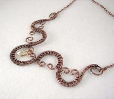 Copper Wire Woven Necklace by DesertShineJewelry