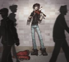 Subway Violinist by SybLaTortue