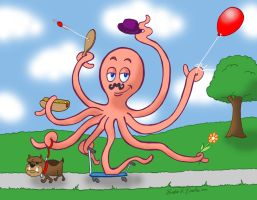 Mr. Octopus Goes for a Stroll by brodiehbrockie