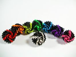 Duct Tape Rose Rings - Fireworks by QuietMischief