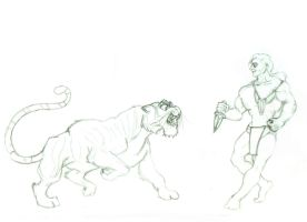 Mowgli versus Sher-Khan scetch by Haikas