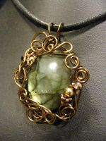 fancy wrapped labradorite pendant by BacktoEarthCreations