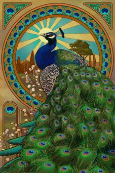 Art Nouveau Peacock by AlixBranwyn