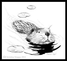 Beaver Swimming by Qiu-Ling
