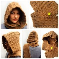 Crocheted brown scoodie by Sefi