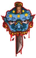 Japanese Mask tattoo design by funkt-green