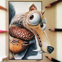 Scrat Drawing - Ice Age Fan Art by LethalChris