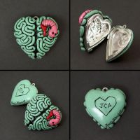 I heart brains locket wit worm by beatblack