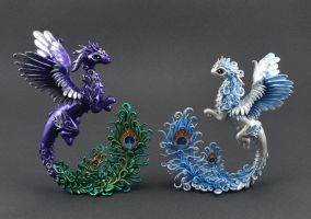 Dragons with peacock feathers by MyOwnDragon