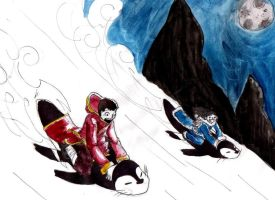 Penguin Sledding by Eikou-Neko