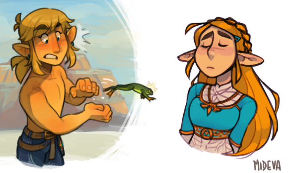 Link VS Hot Footed Frog (oh and Zelda too) by mideva