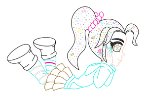 Vanellope color lineart by MikariStar