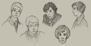 Johnlock Headshots 12-2012 by Arahiriel