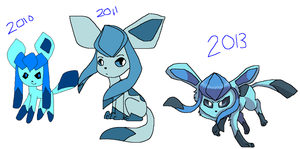 Glaceon Over The Years by Dancing-Gothitas