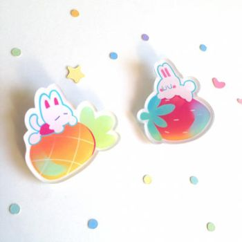 Pineapple Cat Strawberry Bunny Pins by ieafy