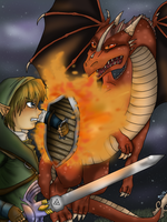 .:Link Fighting A Dragon:. by Cascadena