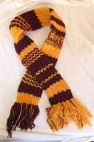 Burgundy and gold scarf by Vivienne-Mercier