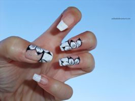 french manicure with white flowers by SoBiEsKii