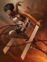 Mikasa (attack on titan) by wizyakuza
