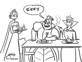 Awkwardness at the Queen's table by Yamino