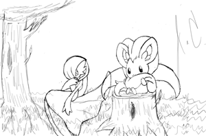 Gardevoir and Cinccino In the Meadow Sketch by JamalC157