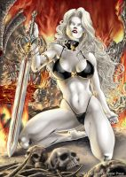 LadyDeath LeatheLace pinup by SulaMoon