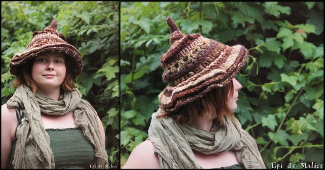 Brown witchy hat - freeform stiches by MademoiselleOrtie