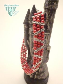 3 Strand Red Pearl Bracelet by TheSortedBead