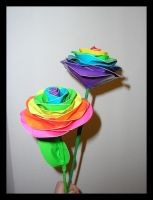 Double Duct Tape Rainbow Rose by DuckTapeBandit